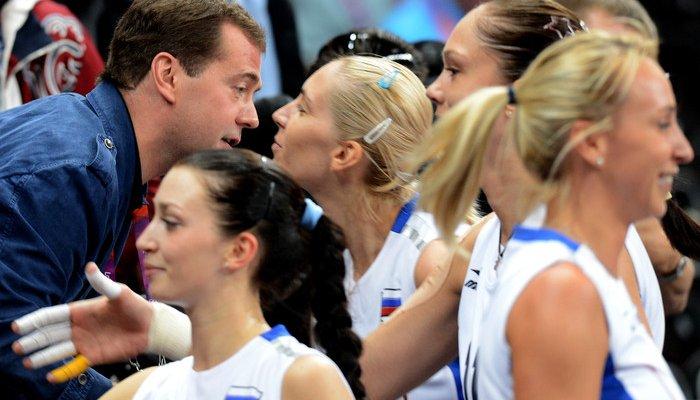 Дмитрий Медведев посетил волейбольный матч Россия -- Великобритания