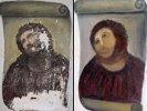 """Испанская пенсионерка своими руками отреставрировала столетнюю фреску, превратив Иисуса в """"волосатую обезьяну"""""""